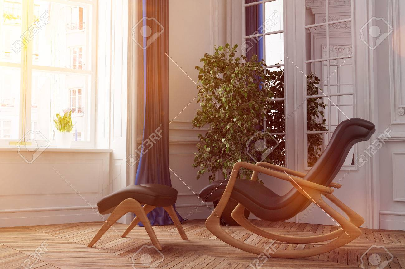 Sun light shines through window on a rocking chair in living room (3D Rendering) Standard-Bild - 58910453