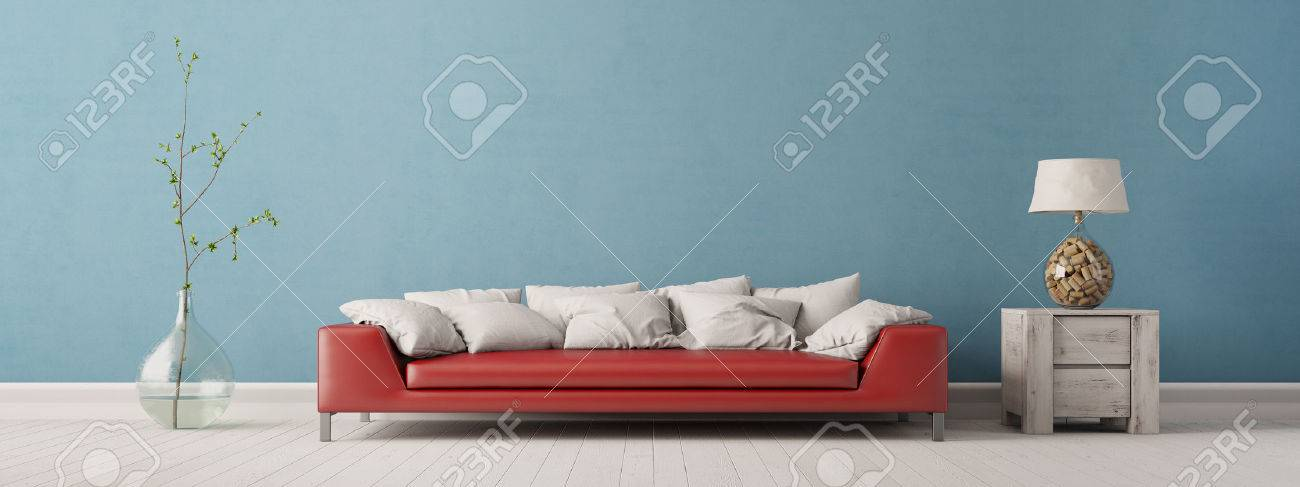 Panorama of living room with sofa in front of a blue wall (3D Interior) Banque d'images - 58910501