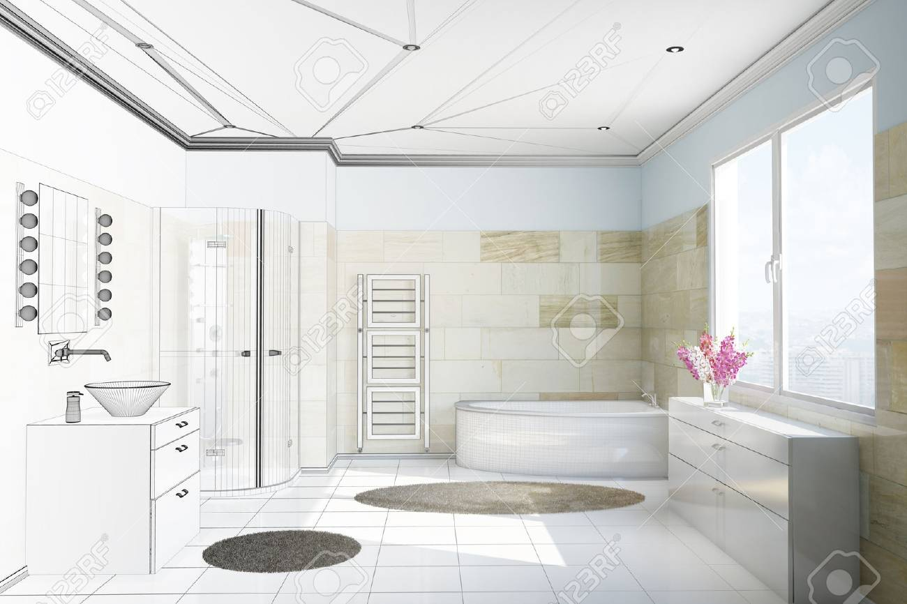 Planning Of Bathroom With Terracotta Tiles From Moving From CAD ...