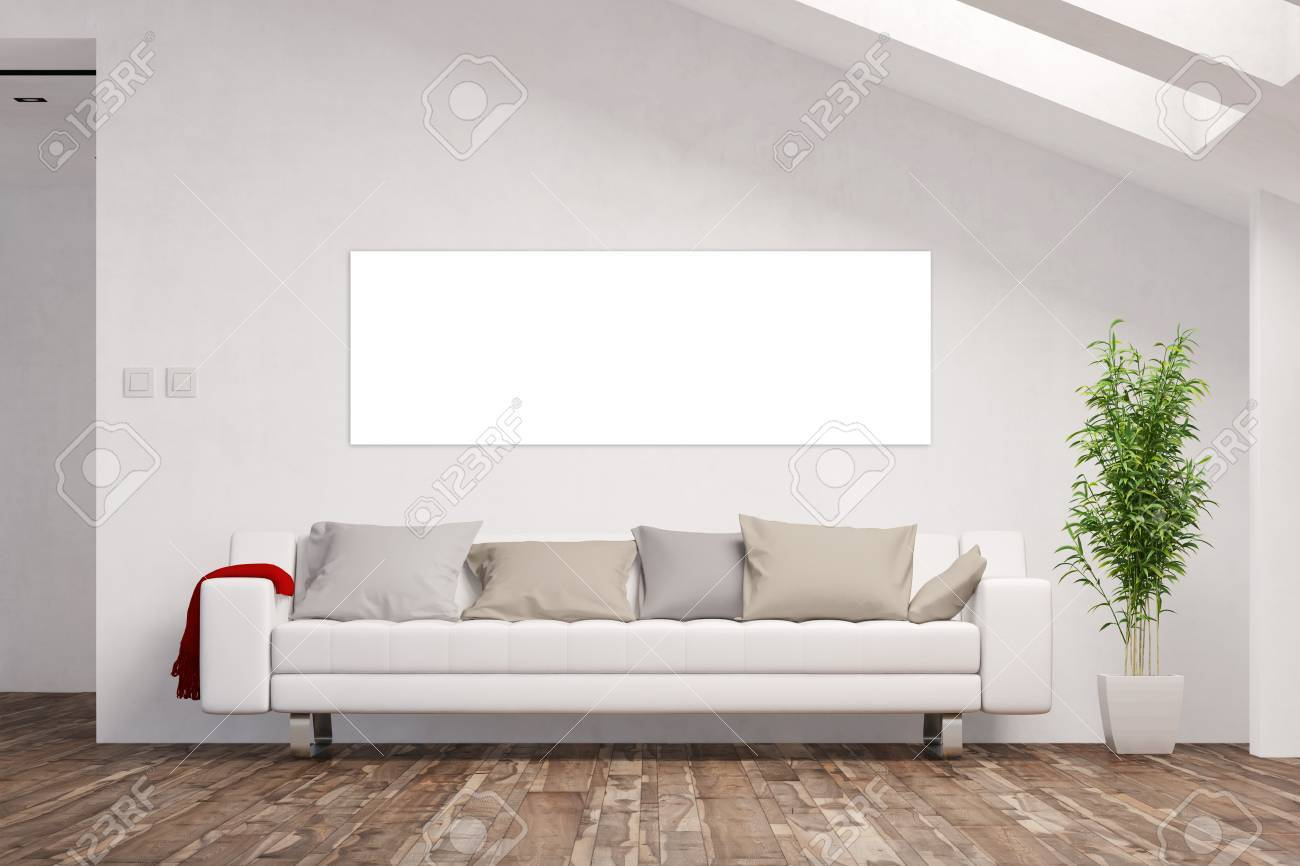 Empty White Panorama Canvas On Wall In Living Room Attic (3D.. Stock ...
