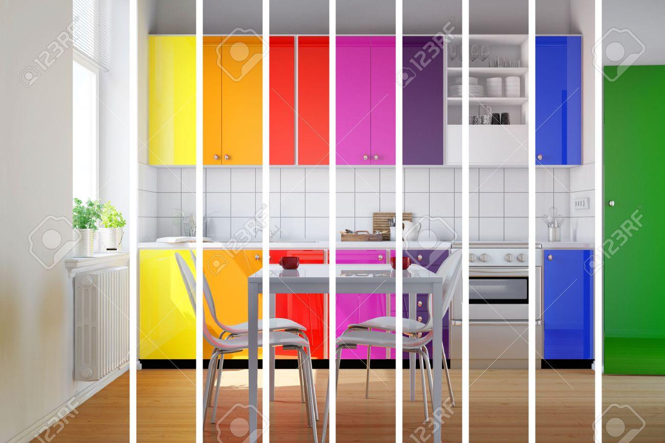 Cuisine colorée en rayures arc-en-ciel comme sélection de couleurs pour les  choix de design d\'intérieur (rendu 3D)