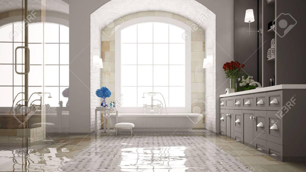 Water damage in a bath with bathtub after a flood (3D Rendering) Standard-Bild - 62307204