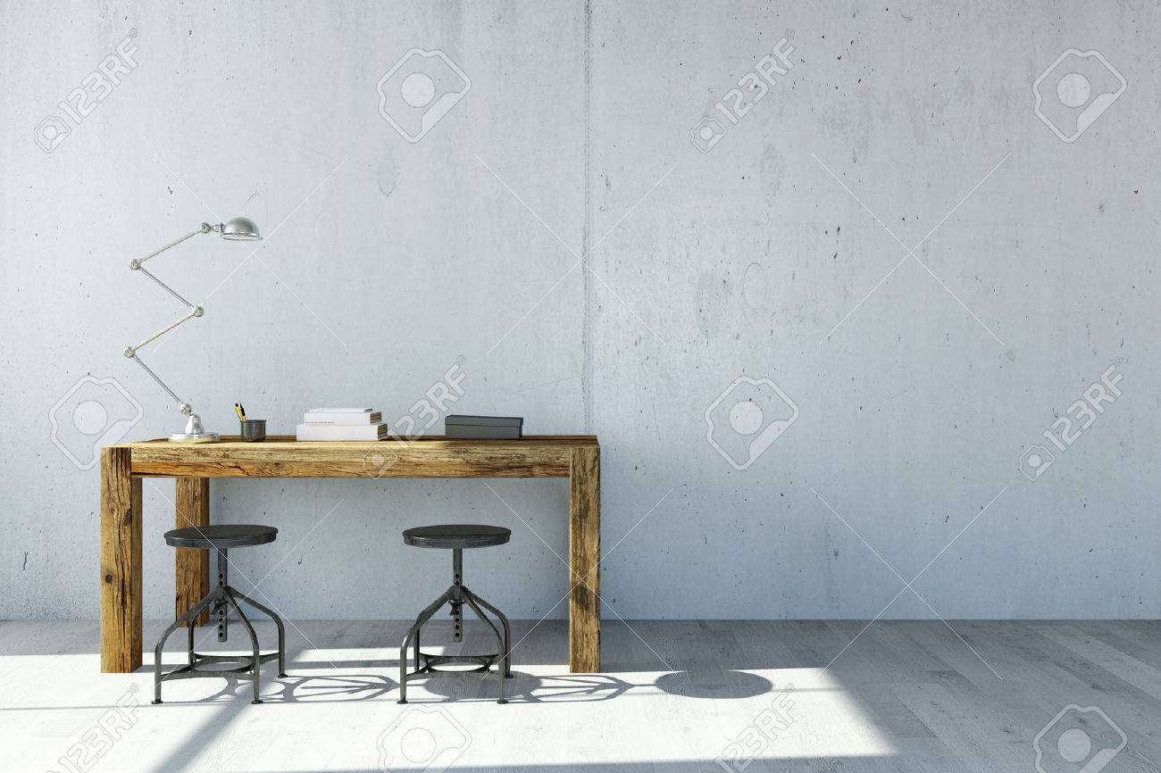Desk with lamp in front of concrete wall in home office (3D Rendering) - 61608464