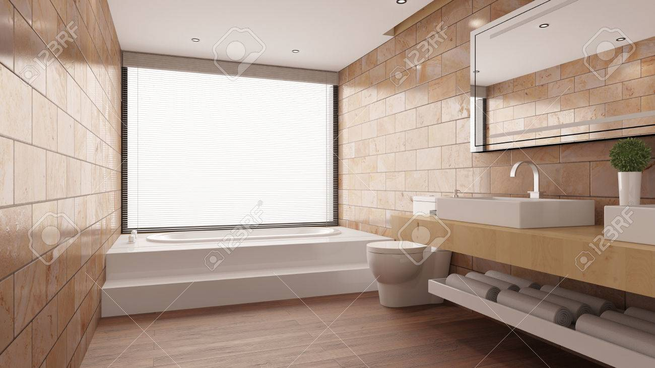 Terracotta Tiles In Modern Bathroom With Bathtub And Sink And ...