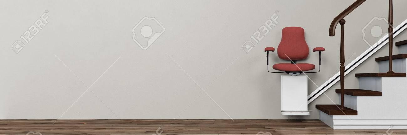 Panorama de stairlift sur les escaliers dans une maison pour les personnes âgées (rendu 3D) Banque d'images - 61608479