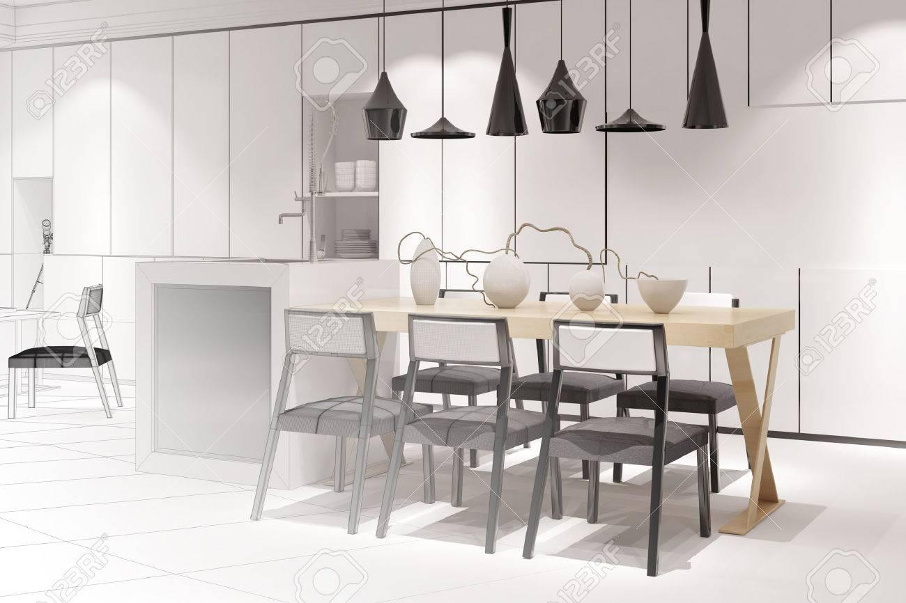 Skizze Eines Modernen Essen In Kuche Mit Esstisch Von Innenarchitekten 3D Rendering