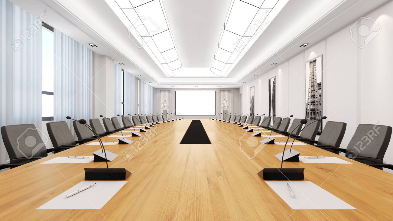 Big Table In A Bright Modern Conference Room D Rendering Stock - Big conference table
