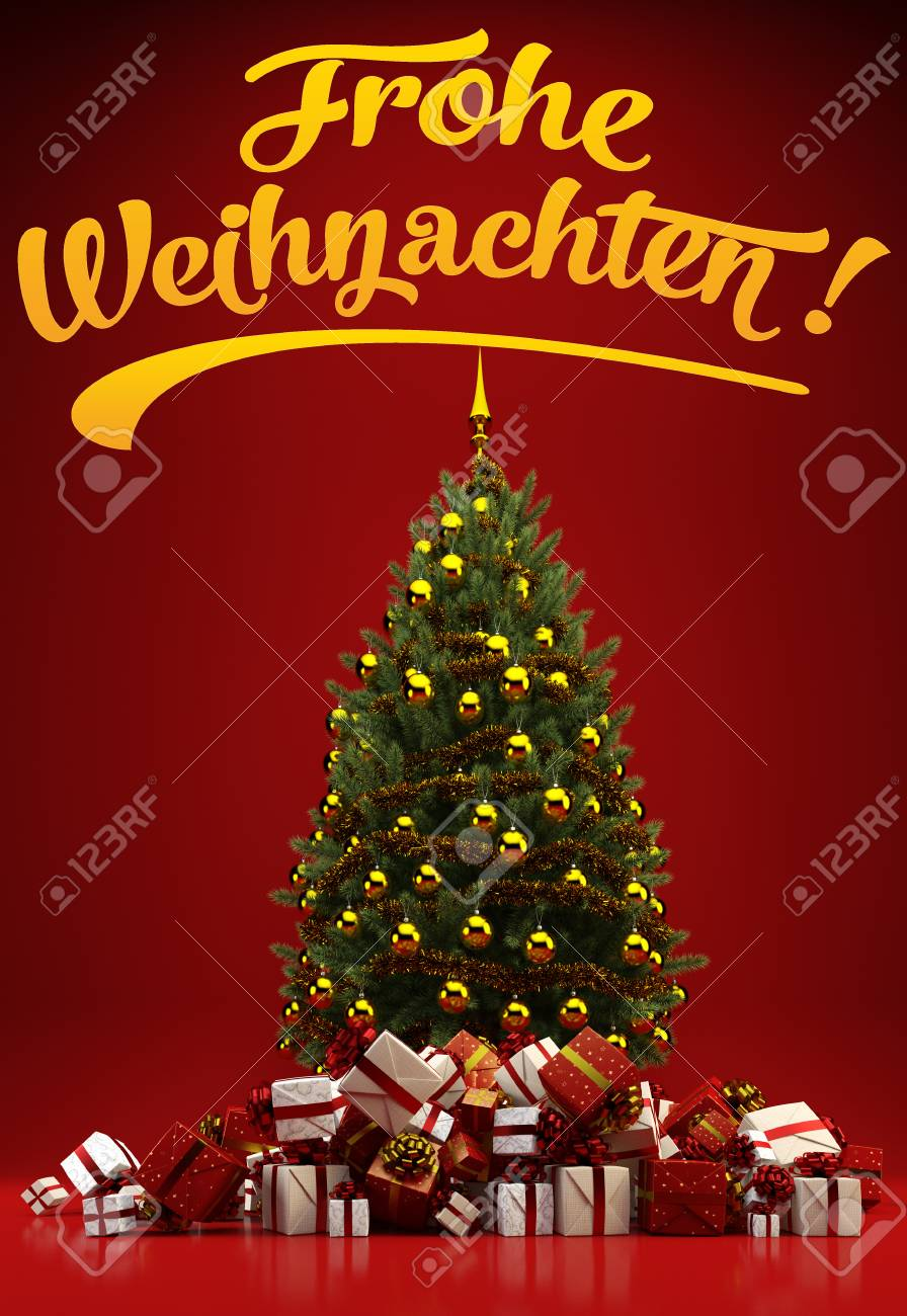 Bilder Frohe Weihnachten Merry Christmas.Christmas Tree And Gifts With German Slogan
