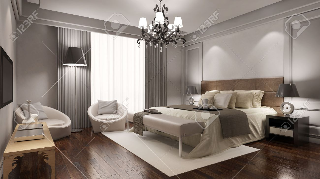 Elegant hotel room suite with double bed and other furniture (3D Rendering) Standard-Bild - 66013532