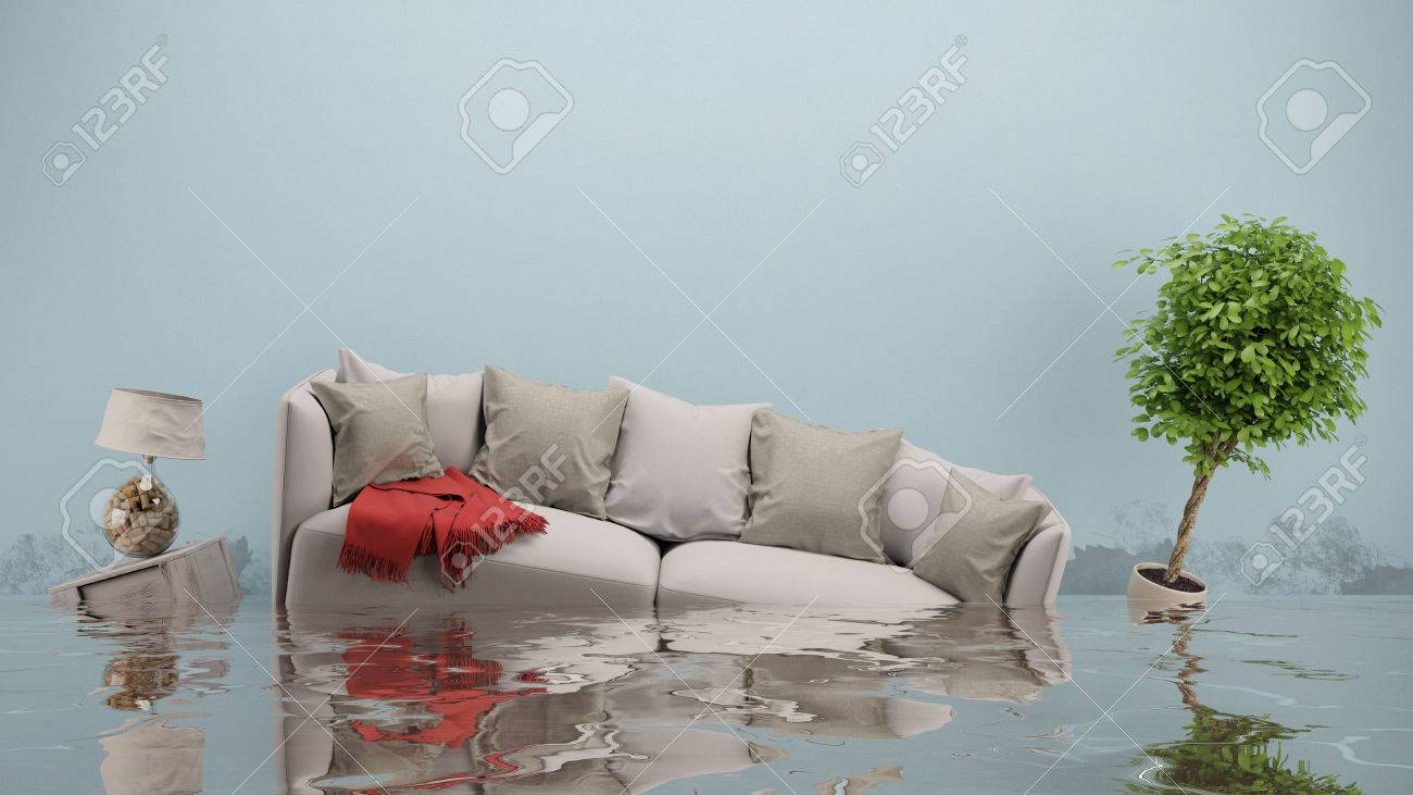 Water damager after flooding in house with furniture floating (3D Rendering) Standard-Bild - 66070581