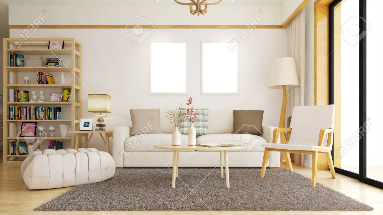 Living Room With Empty White Picture Frames On The Wall (3D ...