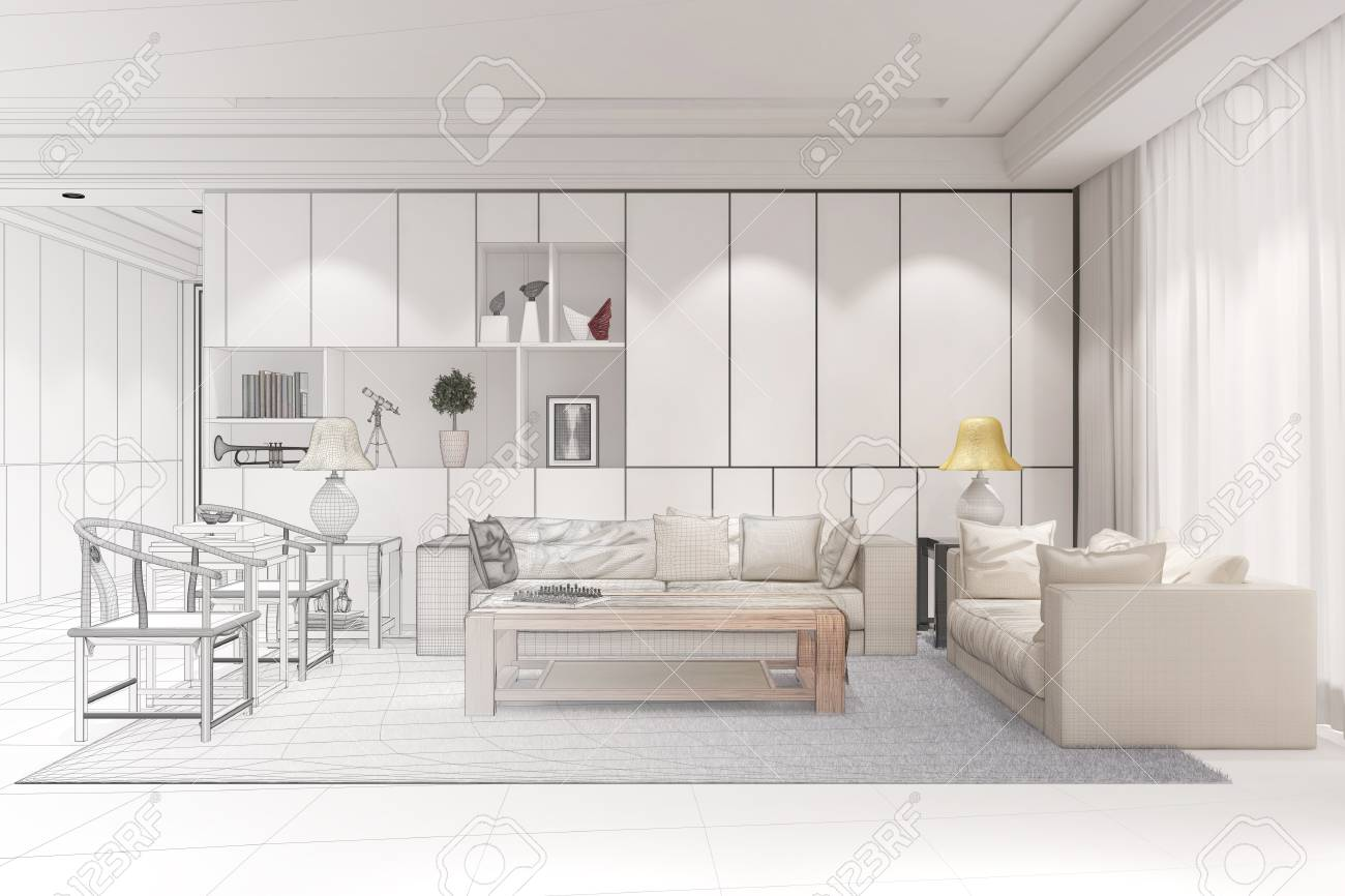 Innenarchitekt Bei CAD Raumplanung Für Ein Modernes Wohnzimmer 21D ...
