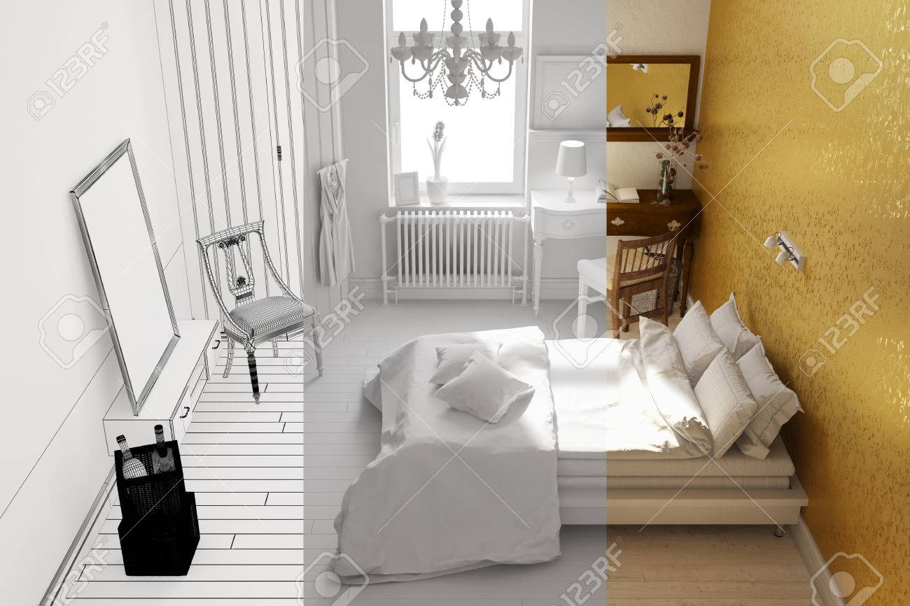 planning of bedroom in room planer from wireframe mesh to 3d.. stock