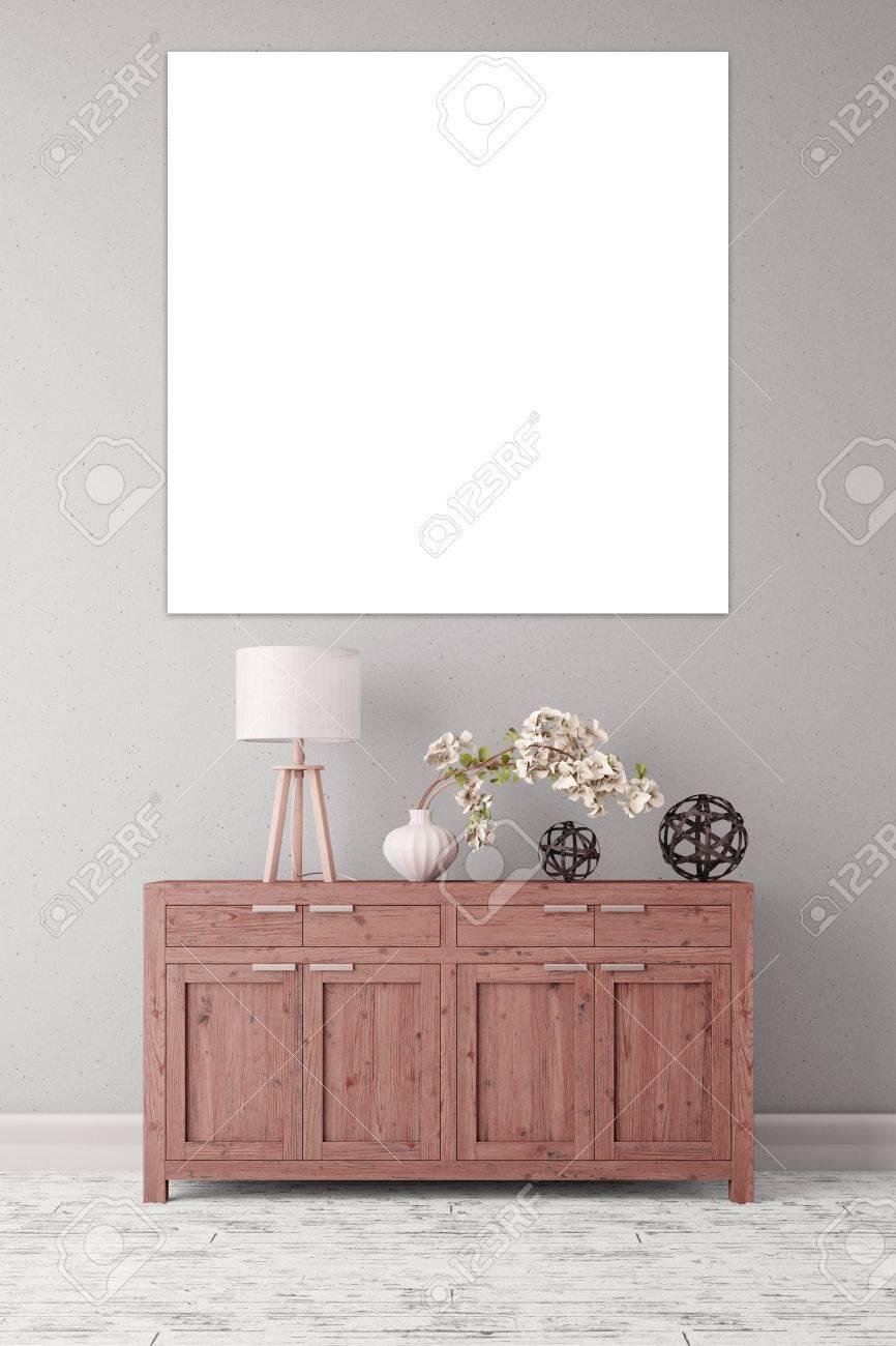 Quadratische Leere Weiße Rahmen Hängt An Einer Wand über Eine ...