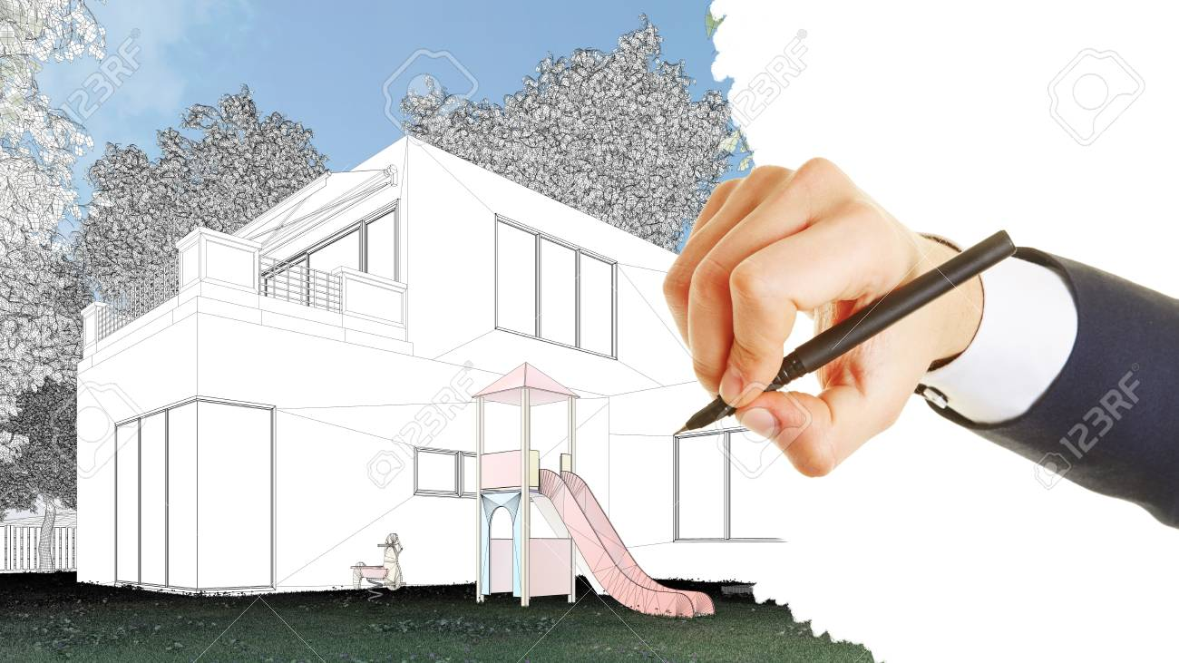 Hand of architect drawing draft for a modern house 3d rendering stock photo
