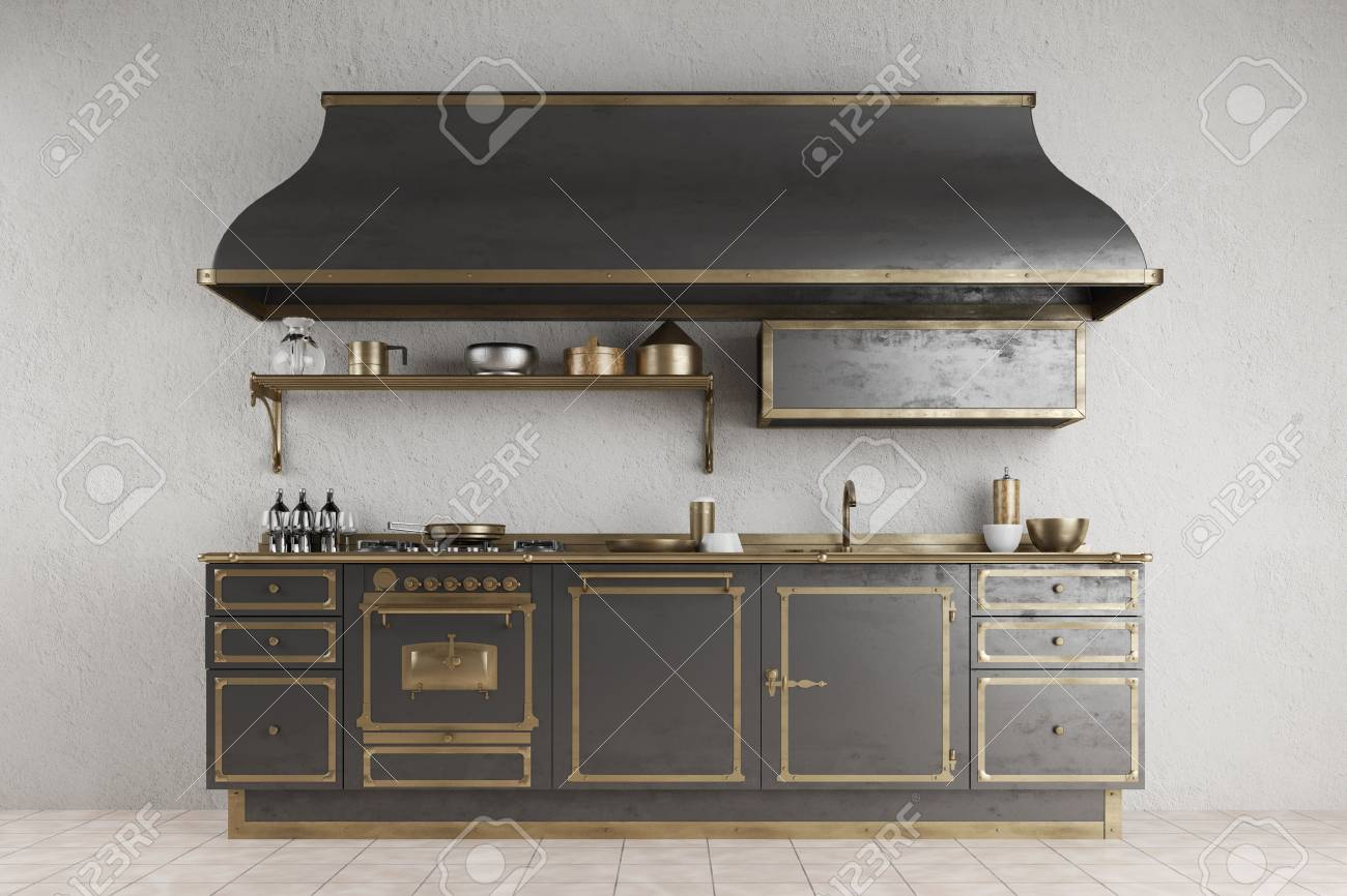 Old Vintage Kitchenette With Metall And Accessoires In A Kitchen