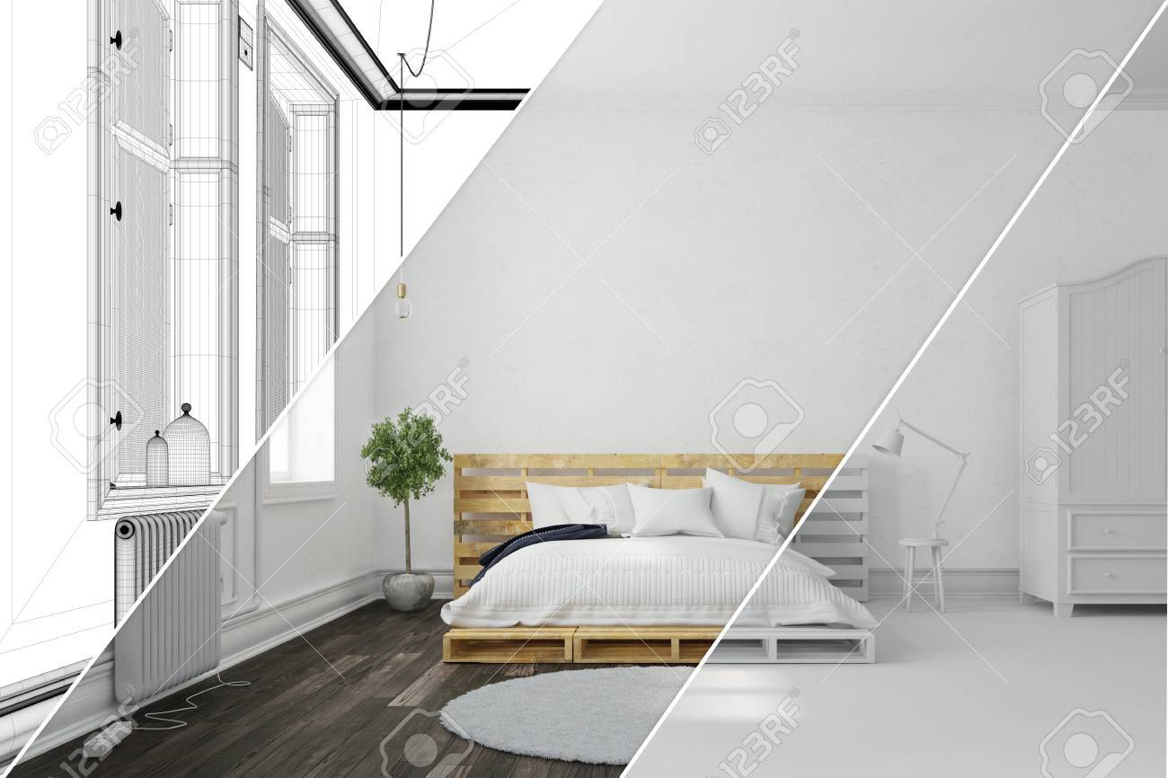 Planning Of Bedroom With 3D Room Planner With Wireframe Mesh And 3D  Rendering Stock Photo