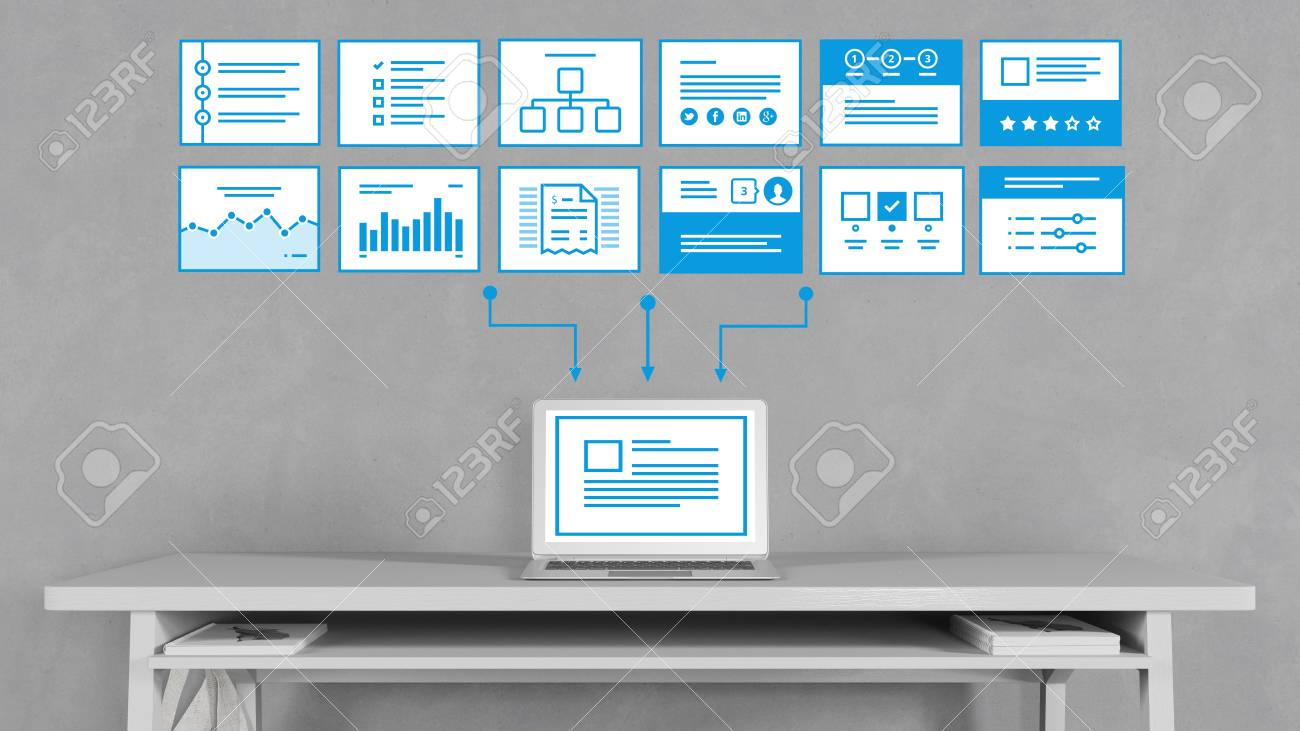 Computer With SEO Process Analysis For Website Templates (3D.. Stock ...