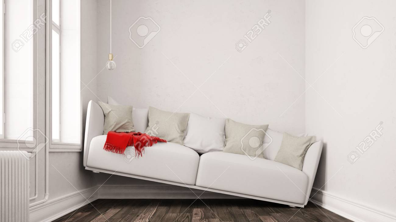 Beau Small Narrow Living Room With Space Problems And A Sofa Between Walls (3D  Rendering)