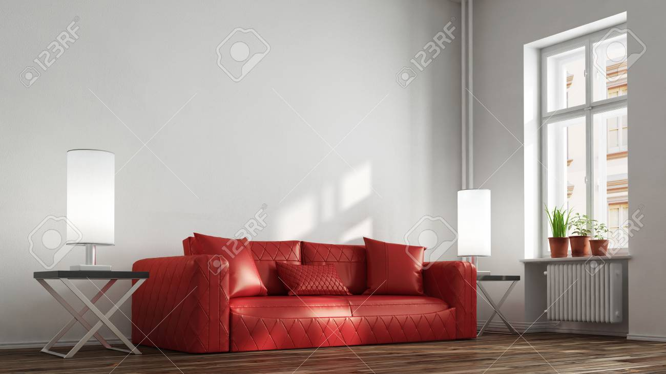 - Red Leather Sofa In Living Room In Front Of A Wall (3D Rendering