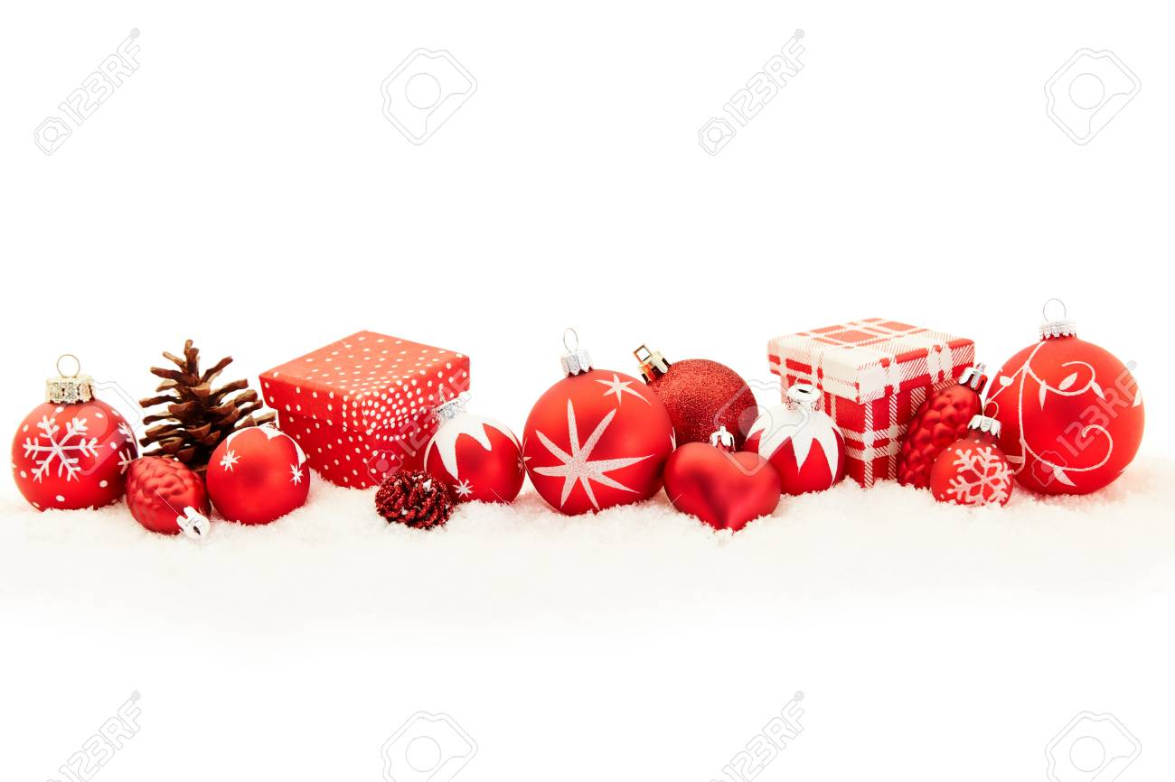 Christmas Header.Red Christmas Header Background Banner With Gifts And Decoration