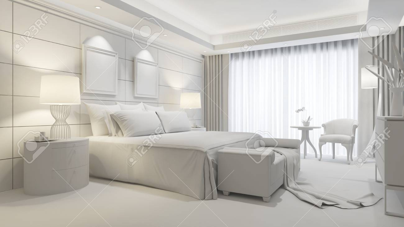 Elegant Hotel Room As Bedroom With White Interior Design 3d Stock Photo Picture And Royalty Free Image Image 118597550