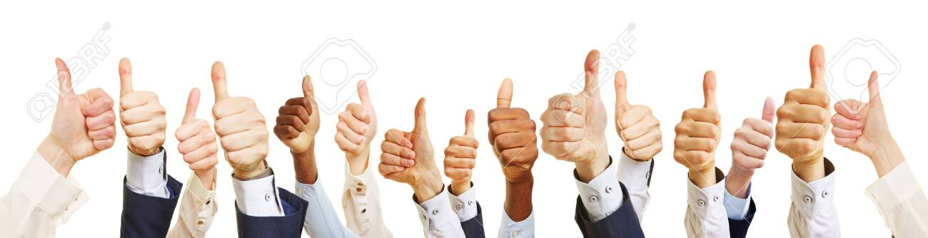Business team with thumbs up as success concept - 121973688