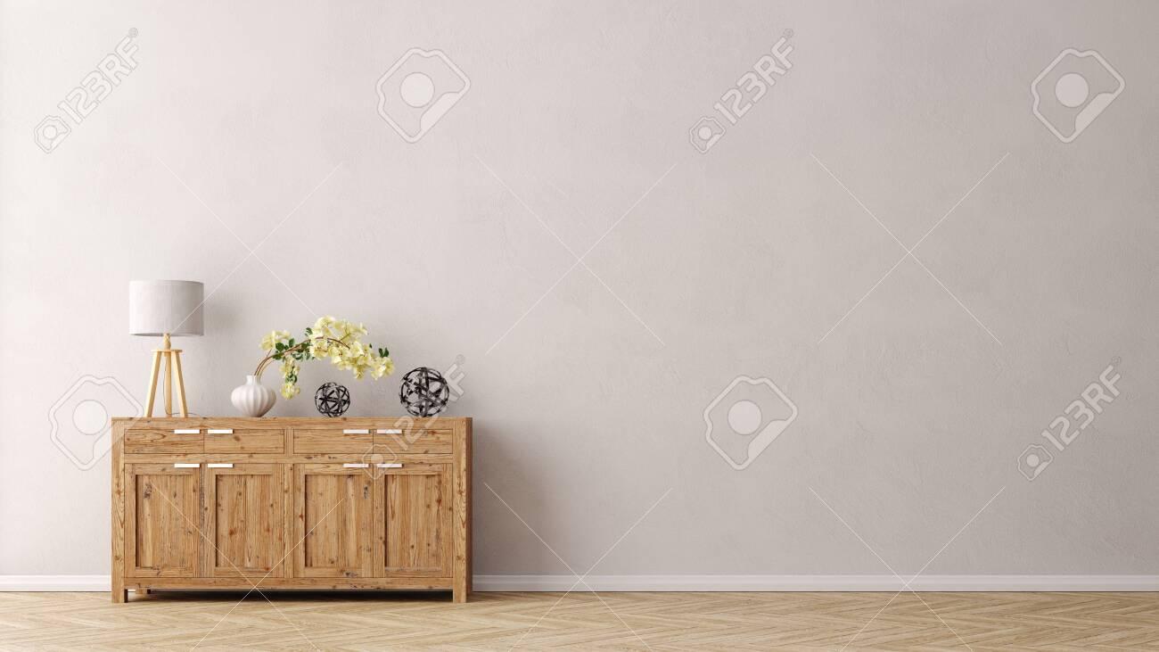 Wohnzimmer Wand mit Kommode und Textfreiraum für Poster oder Leinwand