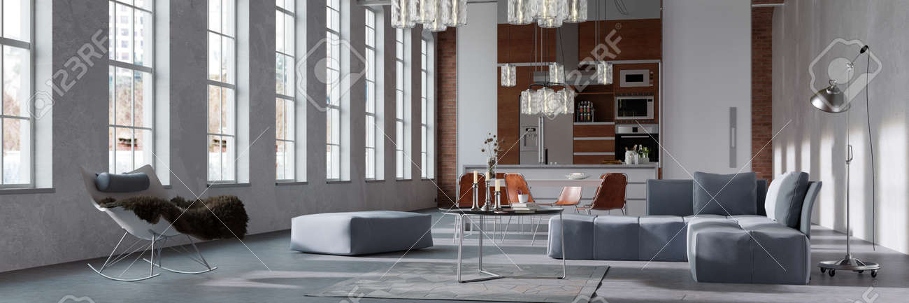 Panorama of a modern bright loft with integratedn kitchen behind living room (3D rendering) - 155110910
