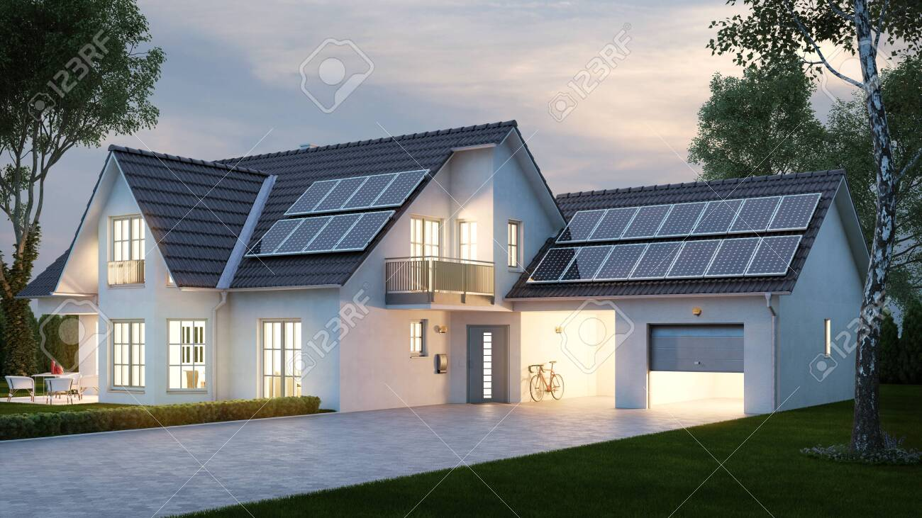 House with bright lighting in the evening in front of the sky in summer (3D Rendering) - 155098927