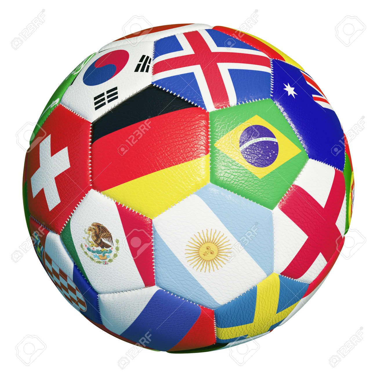 Colorful football with many flags of soccer match 2018 participants (3D rendering) - 156039742