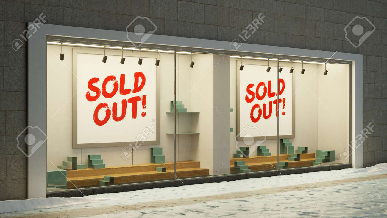 Empty Sold Out Showcase Retail With Sold Out Sign (3D Rendering) - 155098662