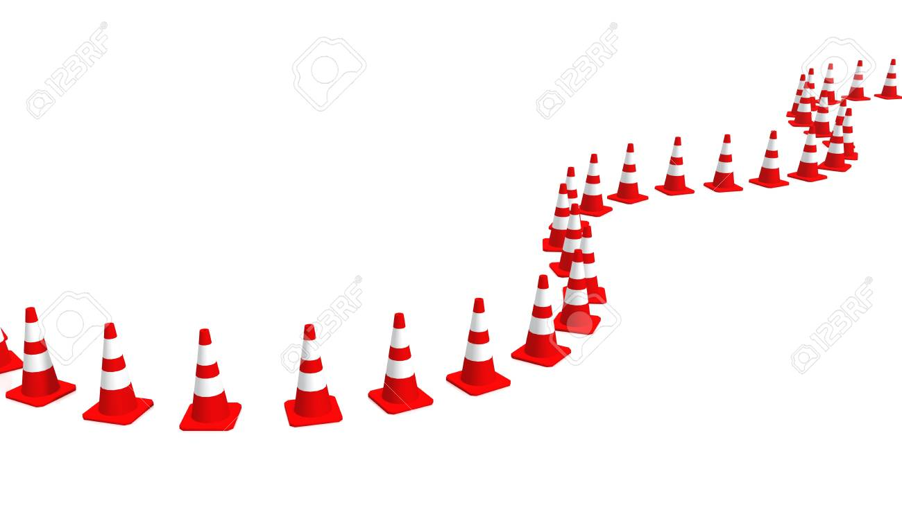 3D Cones red and white Stock Photo - 8501023