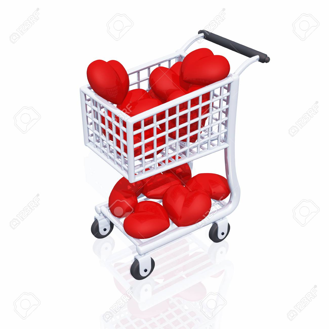 3D cart with a lot of red hearts Stock Photo - 8616151