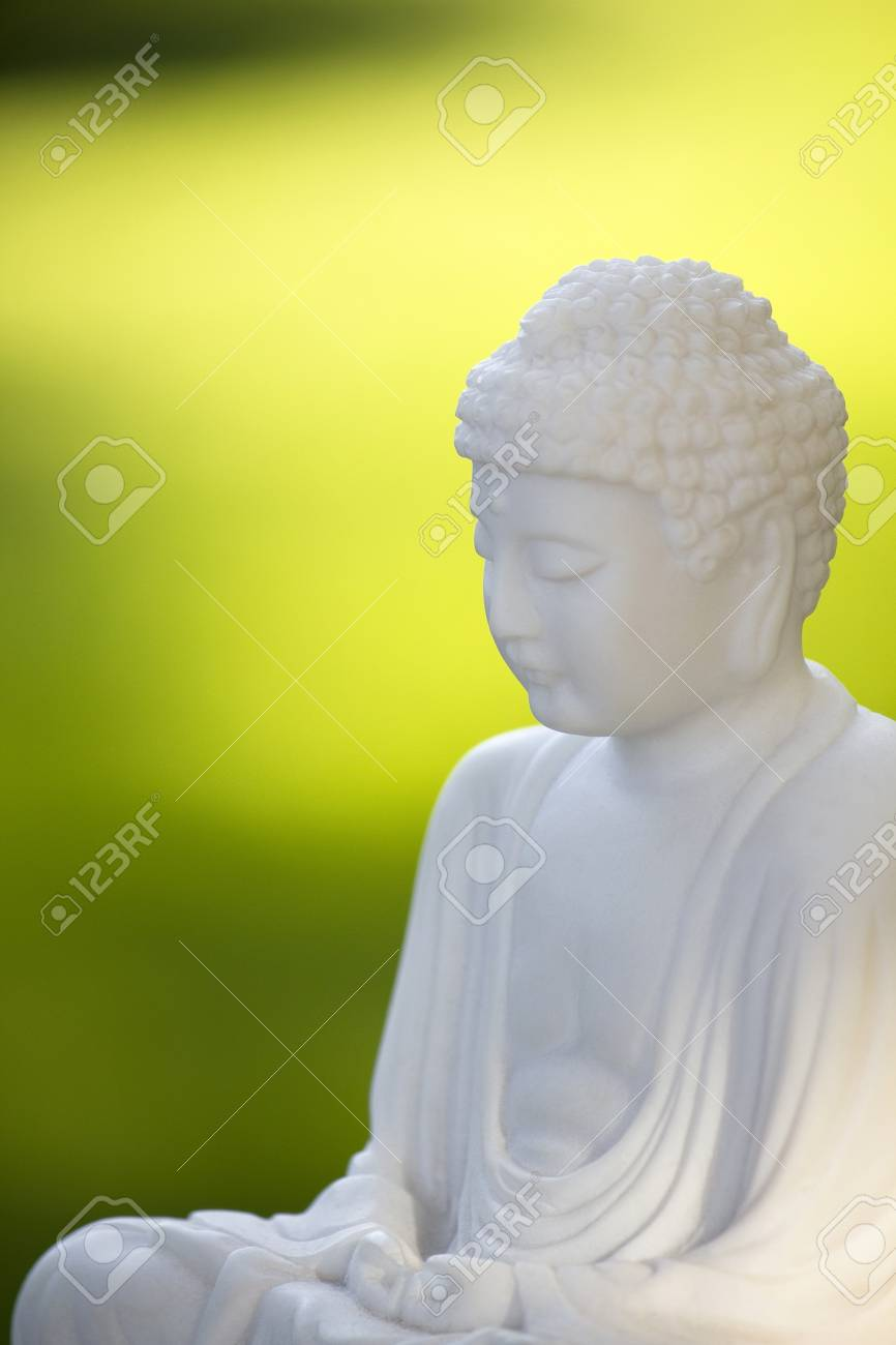 white buddha and green background Stock Photo - 8616159
