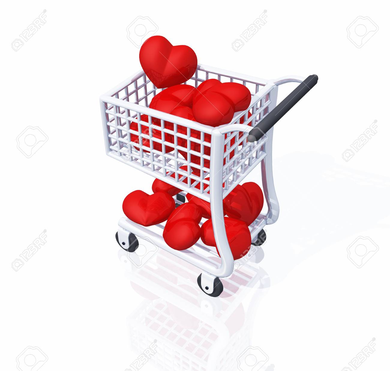 shopping cart full of red hearts Stock Photo - 8730622