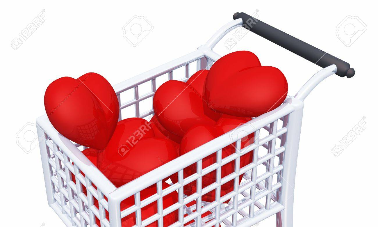 shopping cart full of red hearts Stock Photo - 8730625