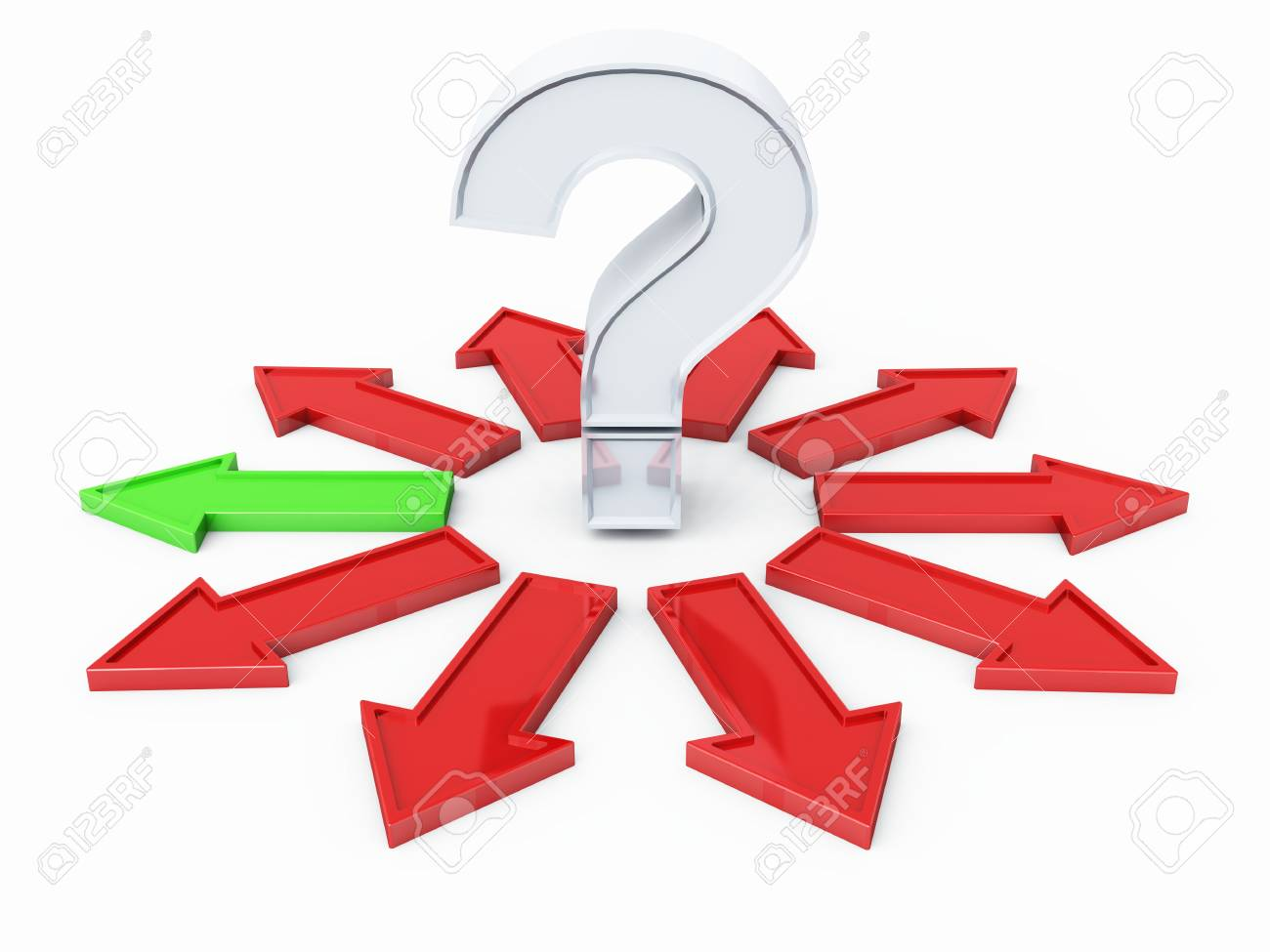 Question Mark Silver Red Green 01 Stock Photo - 13803214