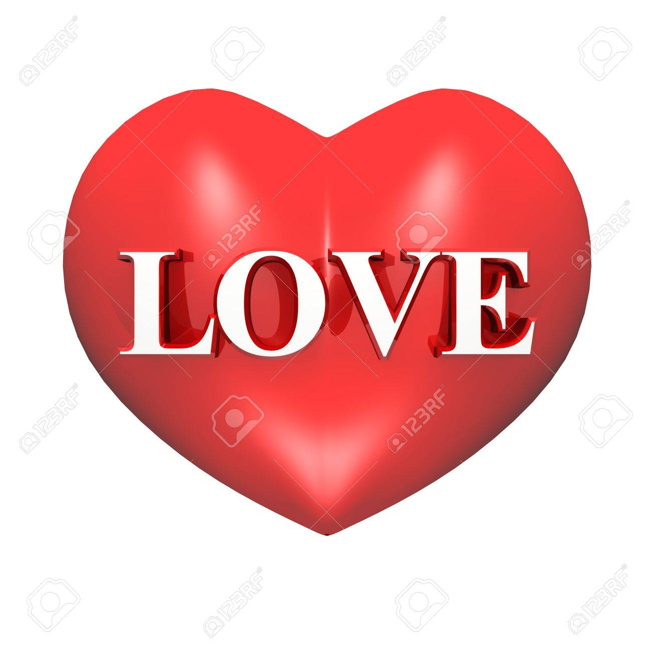 3D red heart - LOVE Stock Photo - 13821065