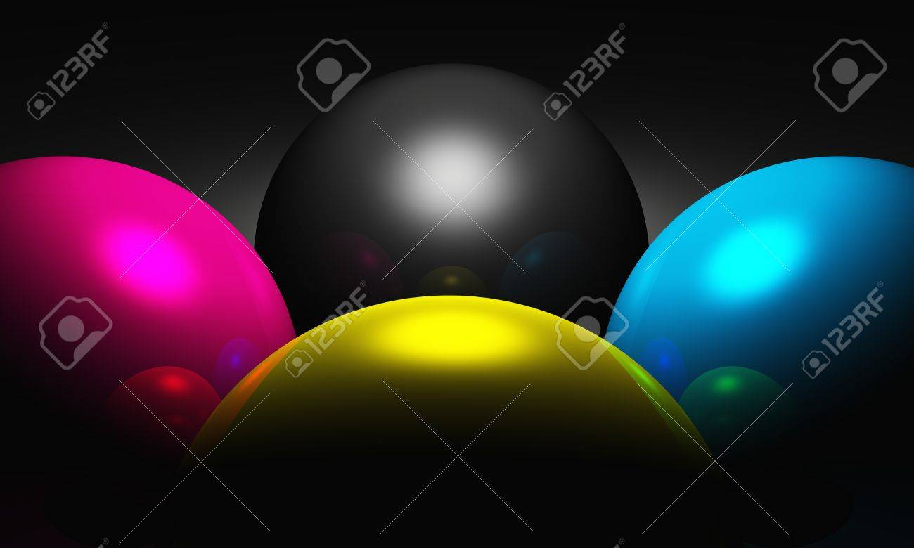 3D - CMYK balls - light and shadow Stock Photo - 13915161