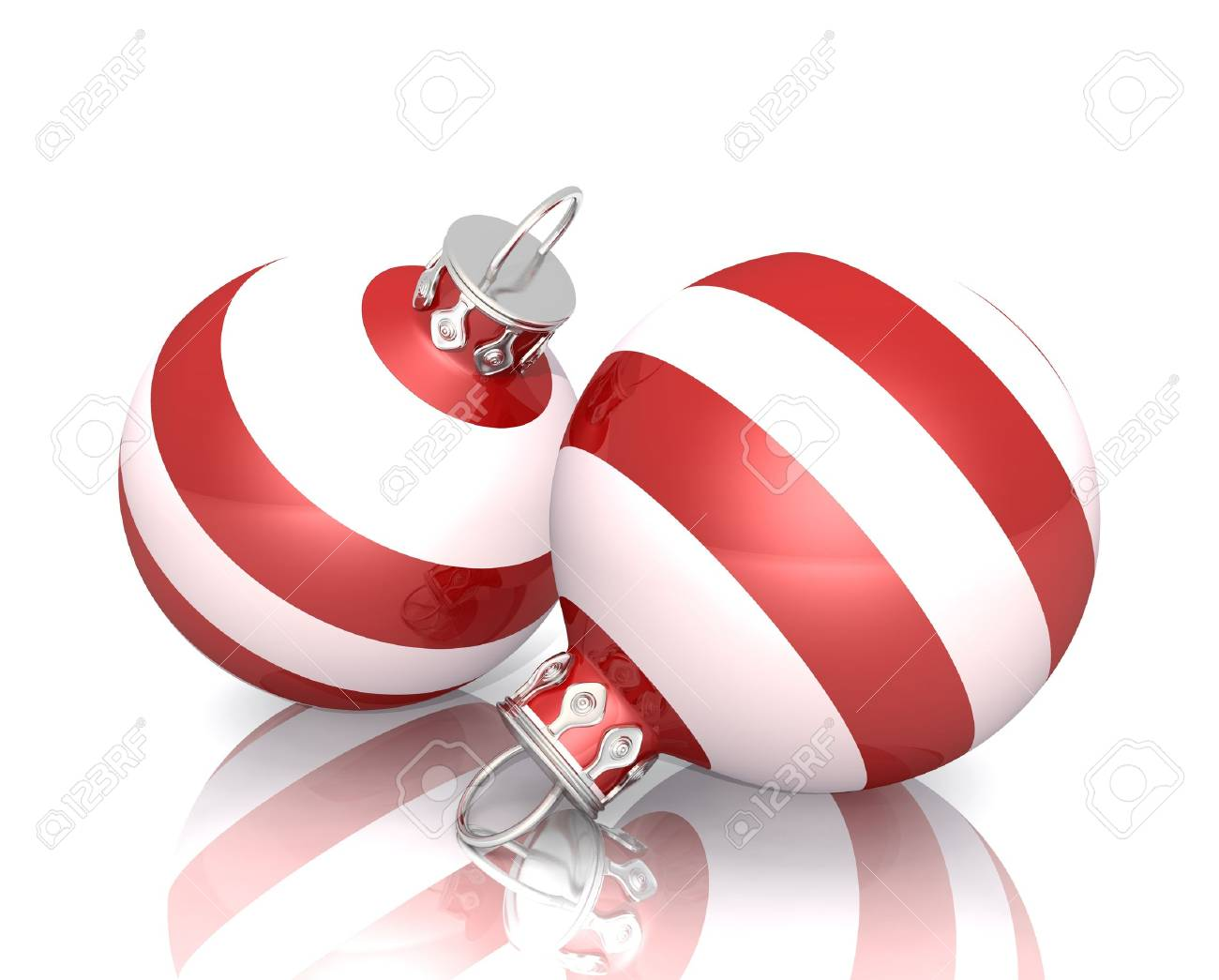 Christmas Ornaments  Red White Striped 2x 02 Stock Photo  13920146