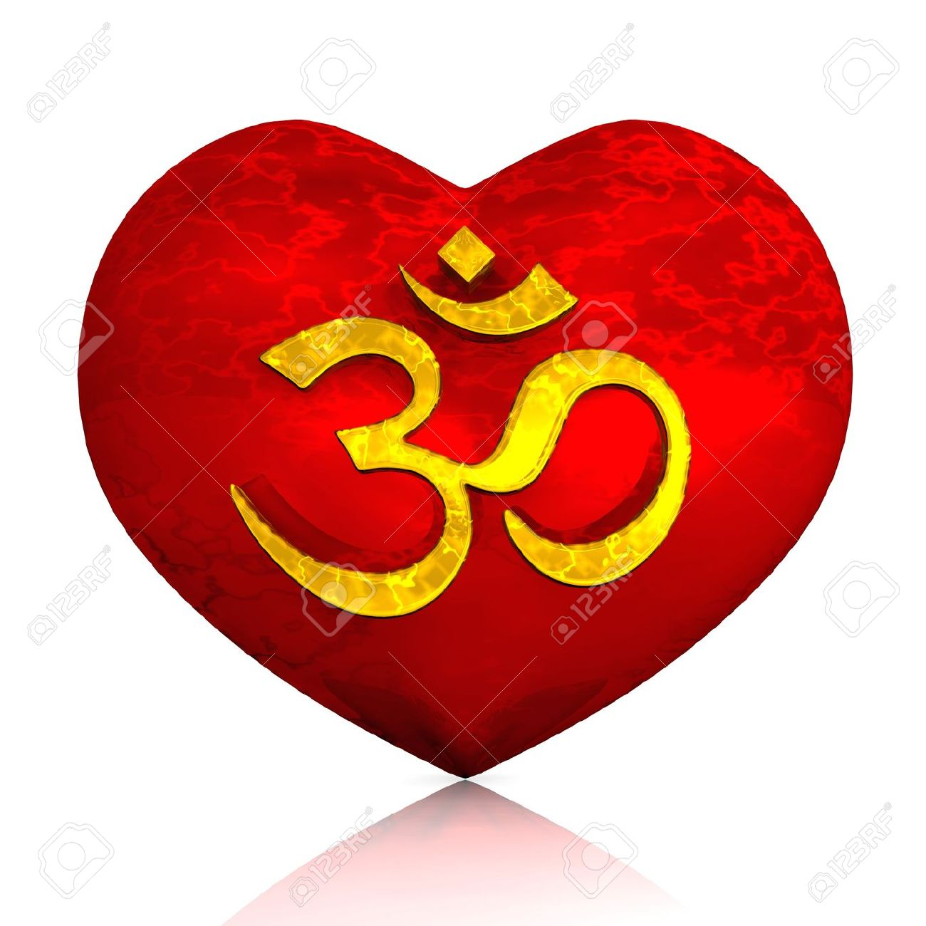 3D - Golden Om sign on red heart Stock Photo - 13945083