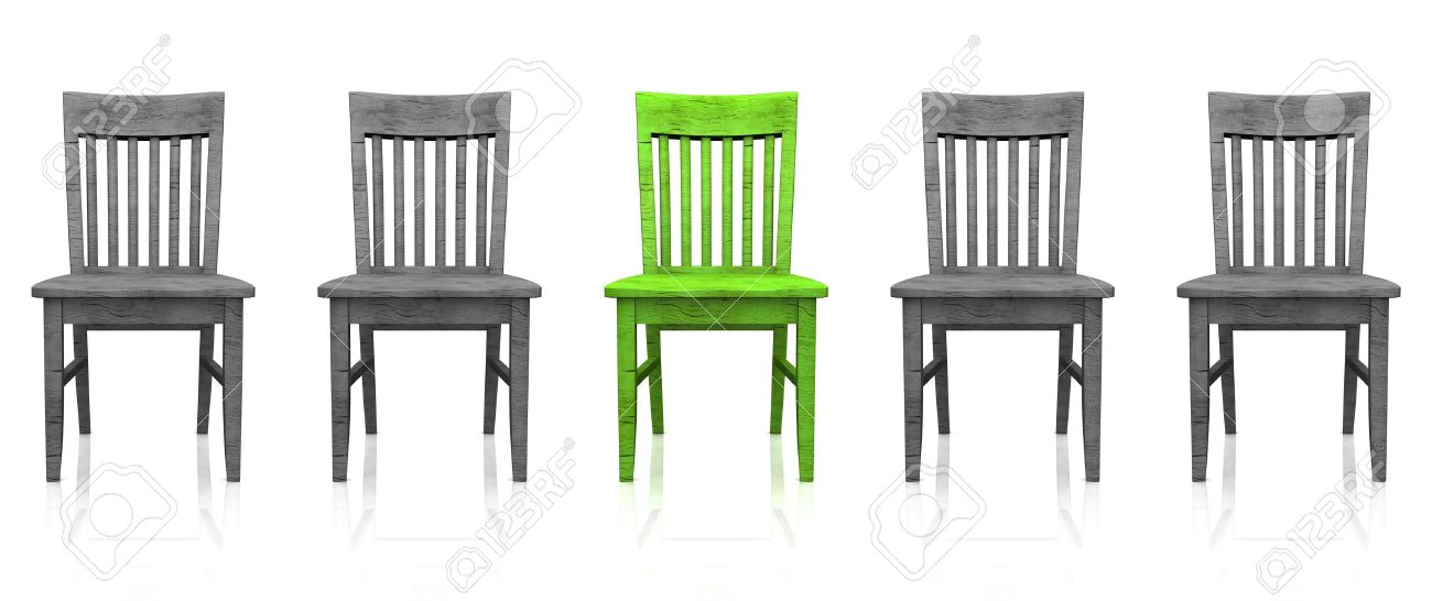 3D row of chairs - green-gray Stock Photo - 13945539
