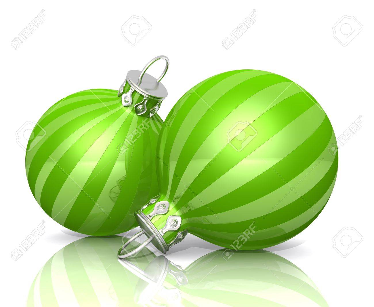 Christmas Ornaments  Green Striped Stock Photo  14266650