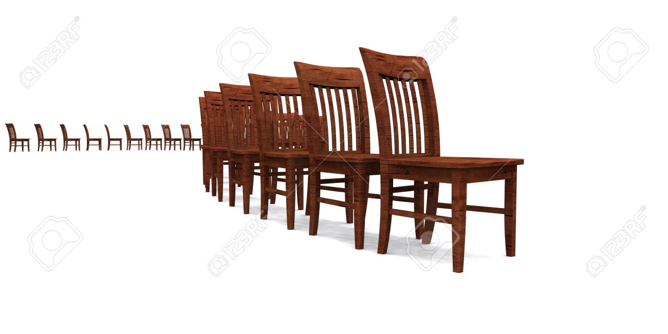 3D row of chairs - Brown 04 Stock Photo - 14380771