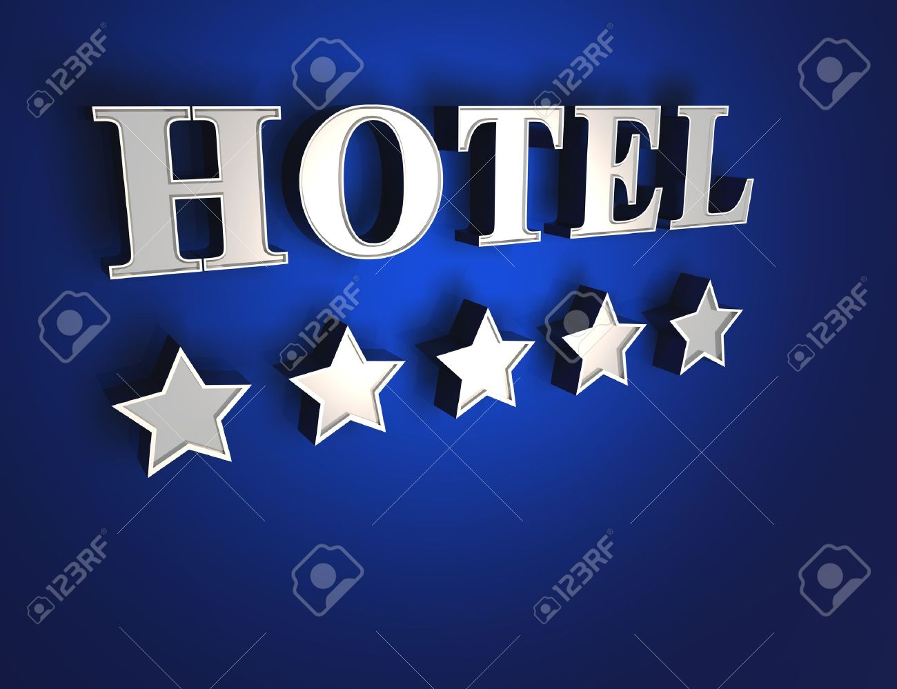 5 star hotel sign - Blue on Silver Stock Photo - 14401386