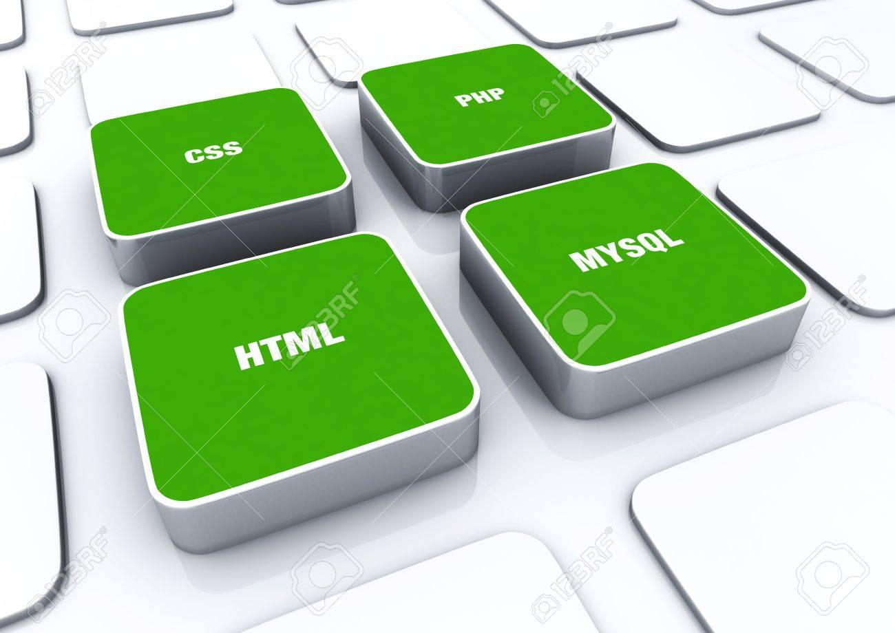 3D Designs Green - PHP MYSQL HTML CSS Stock Photo - 14452982