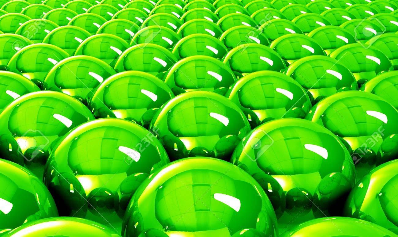 Green balls background reflection Stock Photo - 14548142