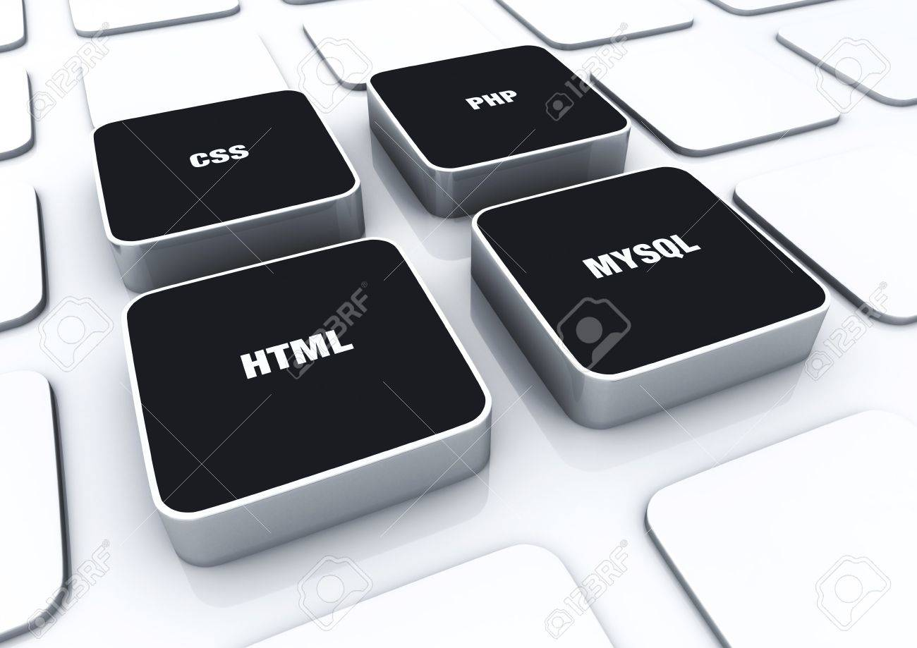 3D Designs Black - HTML CSS PHP MYSQL 8 Stock Photo - 14620952