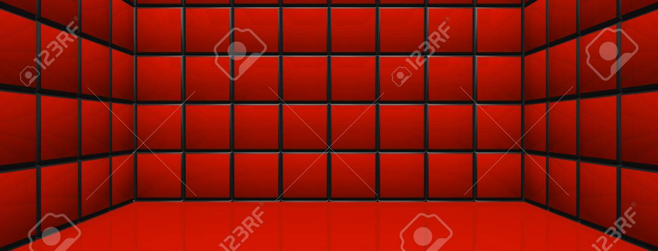 3D Room - Red Cubes Stock Photo - 14768992